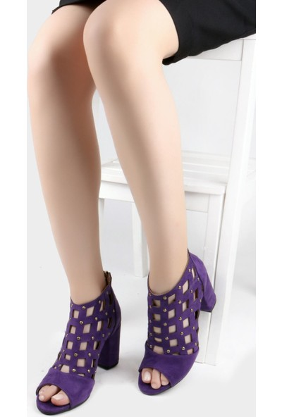 Nicoletta Süet Mor Kalın Topuklu Önü Açık Arkadan Fermuarlı Kadın Sandalet