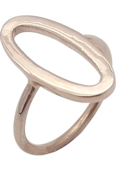 Estel Rose Kaplama Gümüş Oval Yüzük