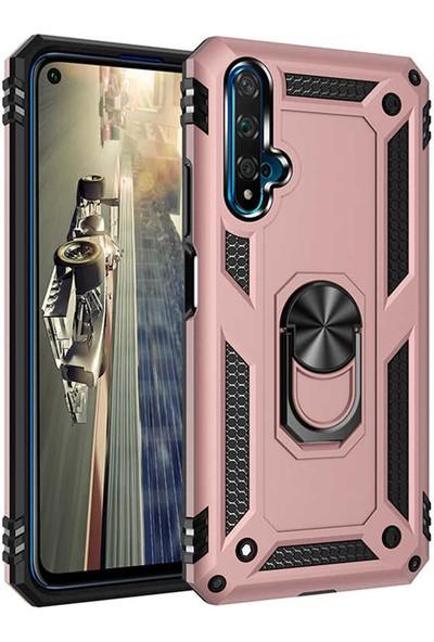 Huawei Nova 5T Kılıf Armor Serisi Vega Tank Zırh Metal Yüzüklü Standlı Rose