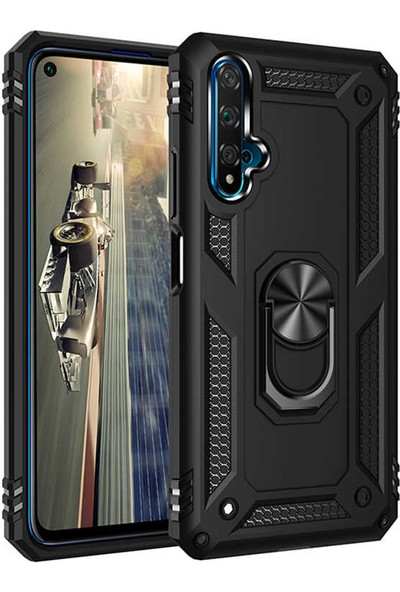 Fibaks Huawei Nova 5T Kılıf Armor Serisi Vega Tank Zırh Metal Yüzüklü Standlı + Nano Cam Siyah