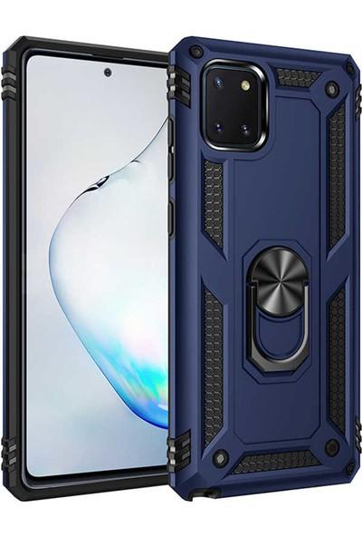 Samsung Galaxy A81 Note 10 Lite Kılıf Armor Serisi Vega Tank Zırh Metal Yüzüklü Standlı Lacivert