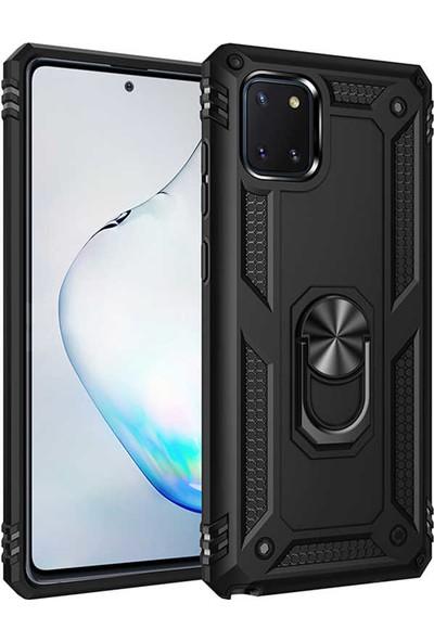 Samsung Galaxy A81 Note 10 Lite Kılıf + Ekran Koruyucu Armor Serisi Vega Tank Zırh Metal Yüzüklü Standlı Siyah