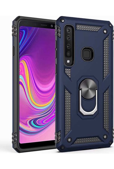 Fibaks Samsung Galaxy A9 2018 Kılıf + Ekran Koruyucu Armor Serisi Vega Tank Zırh Metal Yüzüklü Standlı Lacivert