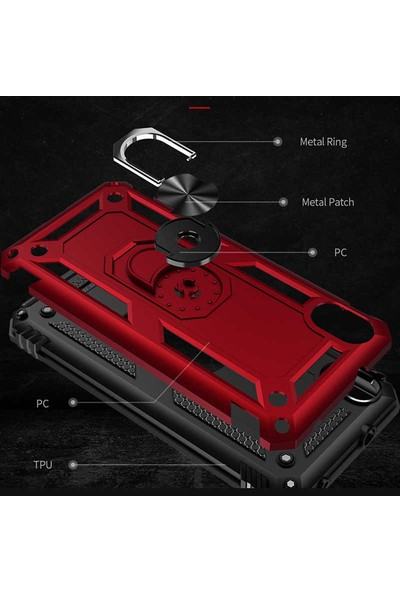 Fibaks Xiaomi Redmi 7A Armor Serisi Vega Tank Zırh Metal Yüzüklü Standlı Siyah
