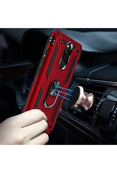 Fibaks Xiaomi Redmi 8 Armor Serisi Vega Tank Zırh Metal Yüzüklü Standlı Siyah
