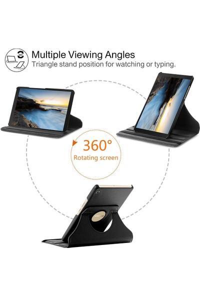 """Huawei Mediapad T5 10.1"""" Kılıf + Kalem 360 Derece Dönebilen Standlı Tam Koruma Uyku Modlu Kapaklı Siyah"""