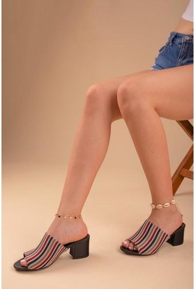 Wicky Çizgili Desenli Vintage Topuklu Kadın Terlik