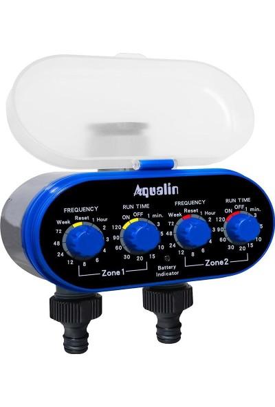 Aqualin Elektronik Küresel Vana Su Hortumu Zamanlayıcı Bahçe Bitki Sulama Valfi Çift Çıkışlı