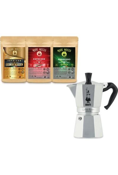 Bıalettı Moka Pot Express 18 Cup Metalik + 100 gr x 3 Paket Espresso Kahve