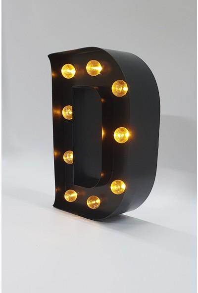 Artrasa Aydınlatma Işıklı Harf Aydınlatma Metal D Harfi Siyah