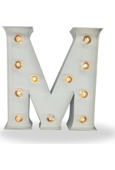 Artrasa Aydınlatma Işıklı Harf Aydınlatma Metal M Harfi