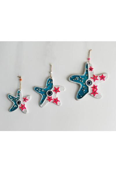 Süme Deniz Kabuğu Süslemeli 3'lü Deniz Yıldızı Duvar Süsü Nazarlık