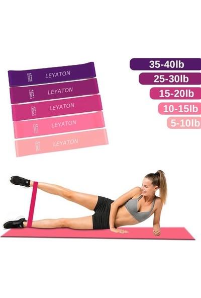 Leyaton Latex 5 Farklı Dirençte Squat Bandı Pilates Aerobik Çalışma Lastiği 5'li Set