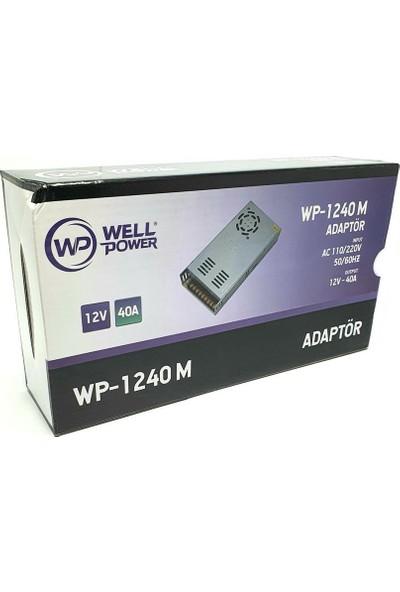 Wellpower 12V 40A Adaptör Metal Kasa Fanlı