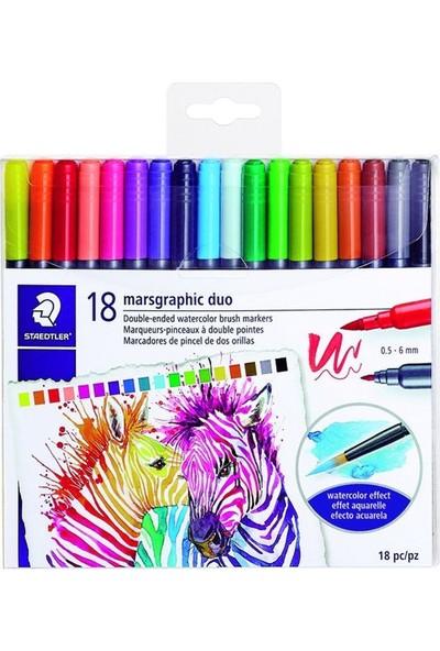Staedtler Marsgraphic Duo Brush Pen Renkli Çift Taraflı Fırça Uçlu Marker Seti 18'li