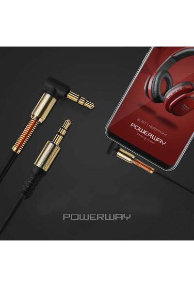Powerway 3.5 mm Aux Stereo Ses Kablosu Altın Uç 1 mt