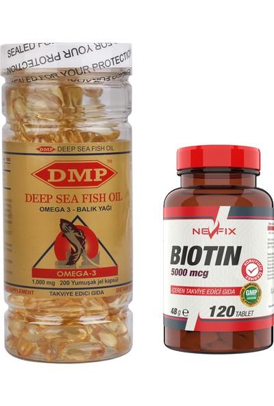 Nevfix Biotin 5000 Mcg 120 Tablet + Omega 3 Balık Yağı 1000 mg 200 Kapsül