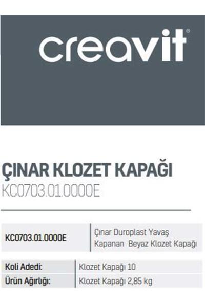 Creavit KC0701.01.0000E Çınar Duroplast Plastik Menteşeli Beyaz Klozet Kapağı