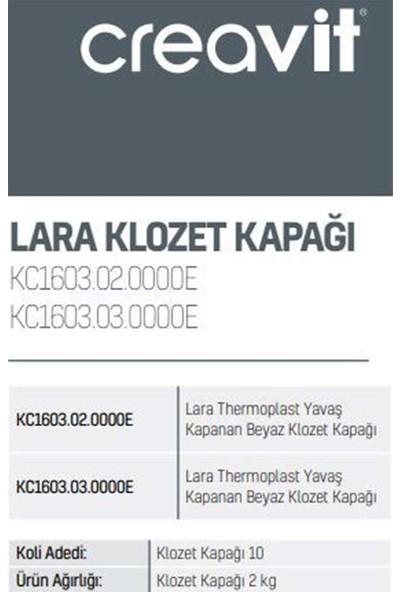 Creavit KC1603.02.0000E Lara Thermoplast Yavaş Kapanan Beyaz Klozet Kapağı