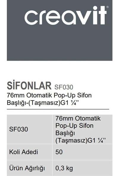 Creavit SF030 76 mm Otomatik Pop-Up Sifon Başlığı (Taşmasız) G1 1/4''
