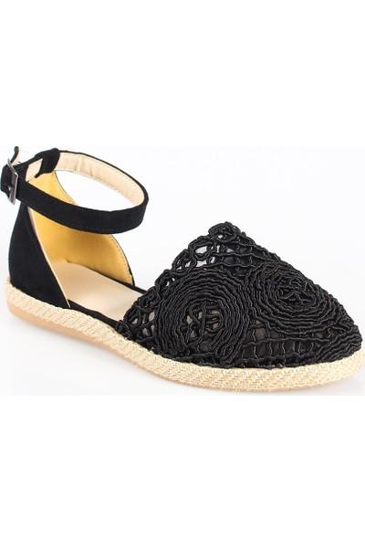 Modagon Tokio Dantelli Siyah Sandalet