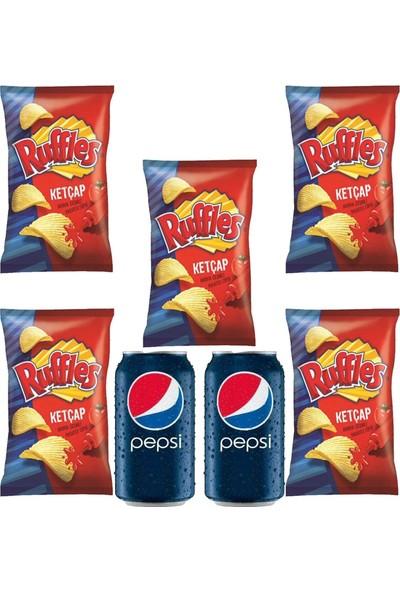 Pepsico Ruffles Ketçap Çeşnili Cips 103 gr 5'li - Pepsi 330 ml Kutu Kola 2'li