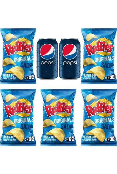 Pepsico Ruffles Original Patates Cipsi 103 gr 5'li - Pepsi 330 ml Kutu Kola 2'li