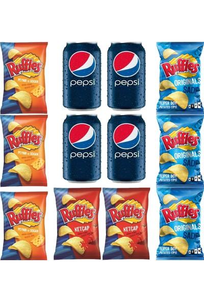 Pepsico Ruffles Süper Paket 103 gr x 8'li & 330 ml Pepsi Kutu Kola 4'lü