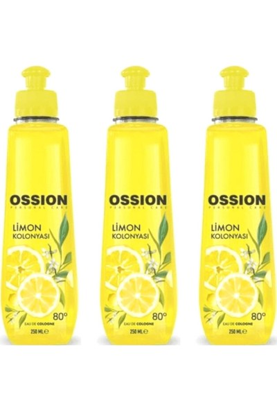 Ossion Limon Kolonyası 80 Derece 250 ml x 3 Adet