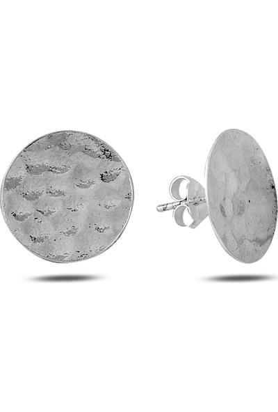 Zuk Collection Gümüş Dövme Yuvarlak Küpe