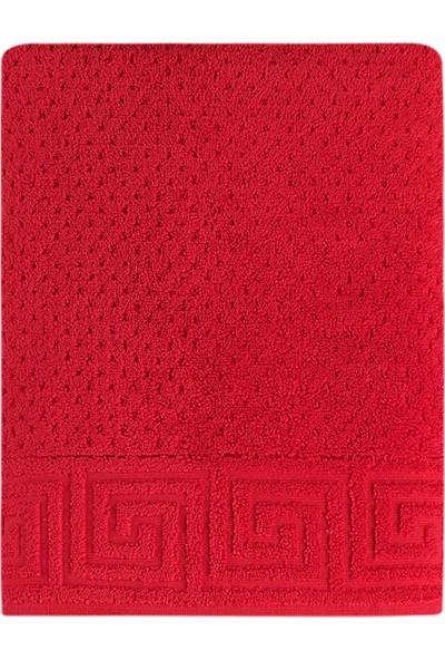 Arya Home Meander Jakar Banyo Havlusu Kırmızı