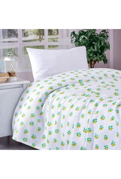 Komfort Home Tek Kişilik %100 Pamuk Petek Pike / Limon Desenli