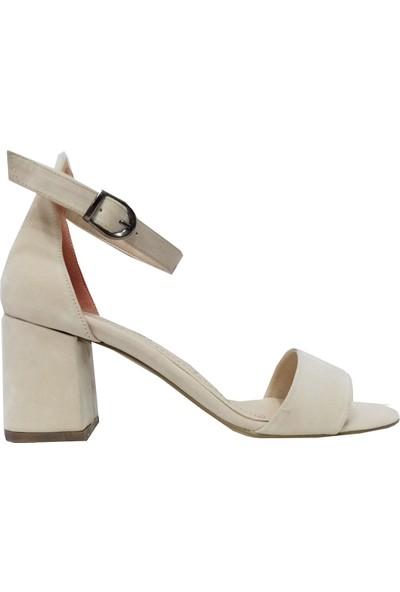 Erbay 022 Süet Kalın Topuklu Kadın Sandalet