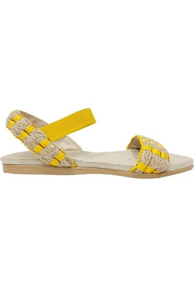 İpek 2753 Trend Hasır Keten Kadın Sandalet