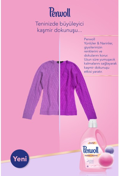 Perwoll Yünlüler ve Narinler için Hassas Sıvı Çamaşır Deterjanı 3L