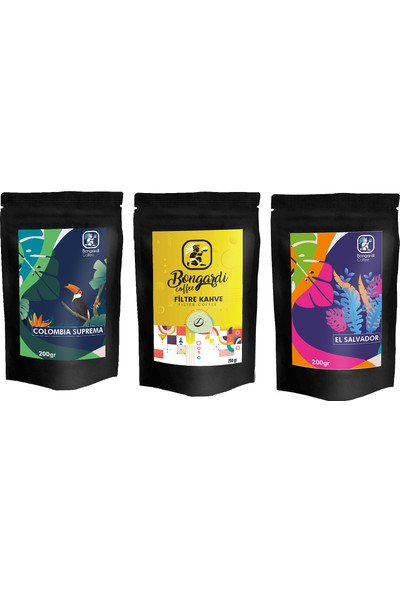 Bongardi Coffee Yöresel Filtre Kahve Demleme Seti Önerileri 3'lü El Salvador Colombia Klasik Filtre Kahve Makinesi Uyumlu !