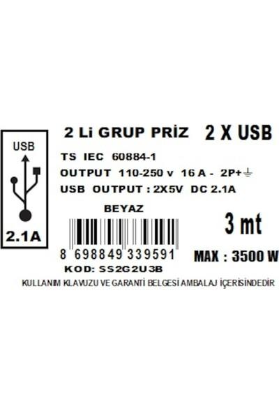 Alkan Smart Socket 2'li Grup Priz & 2 x USB 3 m Kablo Beyaz