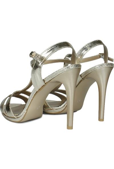Loggalin 520012 721 Kadın Gold Topuklu Platform Ayakkabı