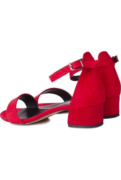 Loggalin 520033 527 Kadın Kırmızı Süet Topuklu Ayakkabı