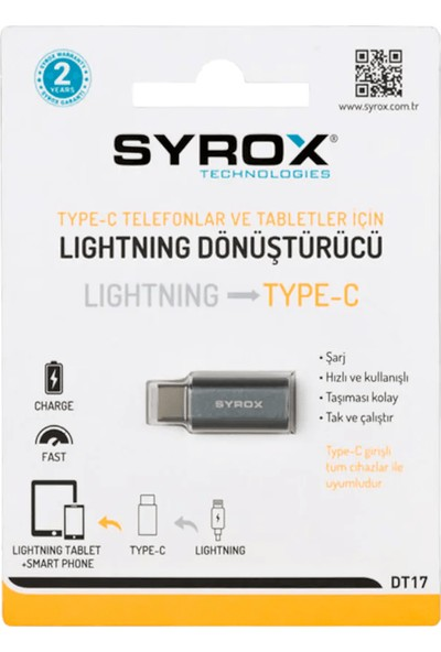 Syrox DT17 Lightning To Type-C Dönüştürücü