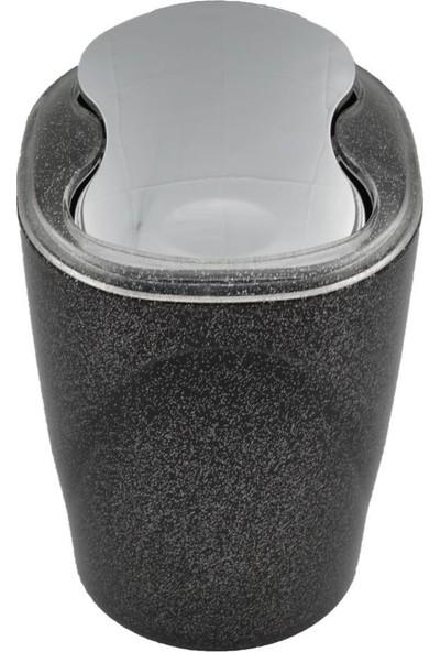 Indecor Akrilik Kromajlı 5 Parça Siyah Renk Simli Banyo Seti