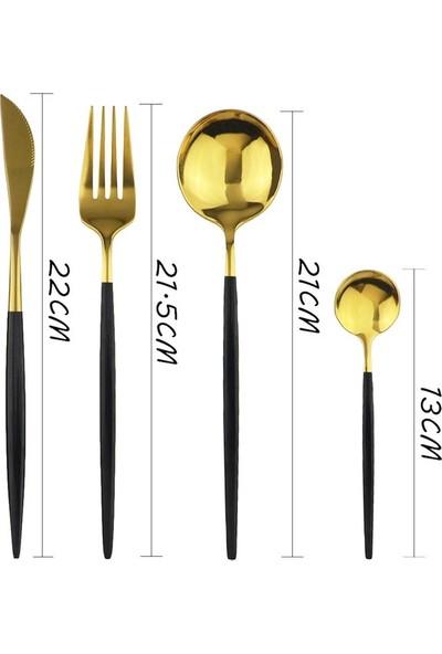 Çatal Kaşık Bıçak Seti 6 Kişilik Siyah Saplı Altın Gold 24 Parça