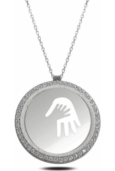 Rams Gümüş Anne Bebek El Izleri Kolye