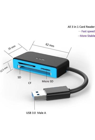 Sge USB 3.0 SD Cf Tf Micro SD Çevirici Dönüştürücü Kart Okuyucu