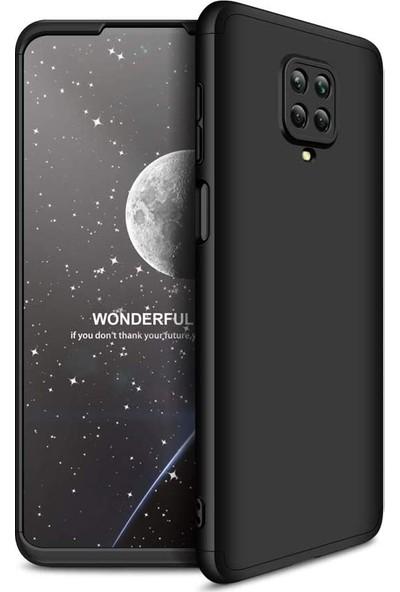 CoverZone Xiaomi Redmi Note 9 Pro Kılıf 3 Parça 360 Soft Hard Koruma AYS Siyah