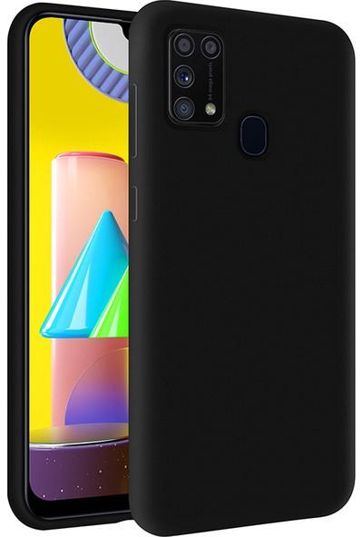Kzy Samsung Galaxy M31 İçi Kadife Soft Silikon Kılıf - Siyah