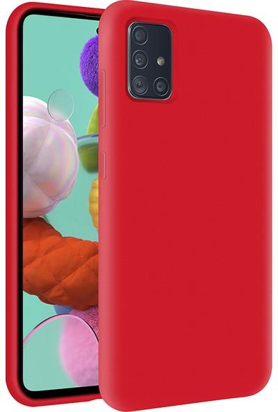 Kzy Samsung Galaxy A51 İçi Kadife Soft Silikon Kılıf - Kırmızı