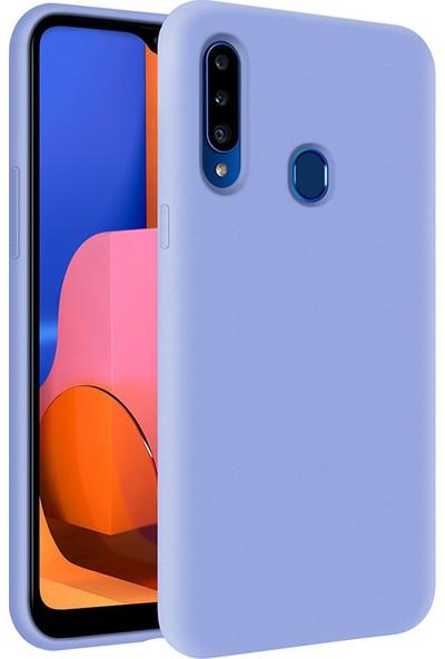 Kzy Samsung Galaxy A20S İçi Kadife Soft Silikon Kılıf - Açık Mavi