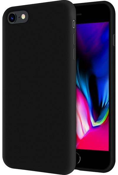 Kzy Apple iPhone 8 İçi Kadife Soft Silikon Kılıf - Siyah