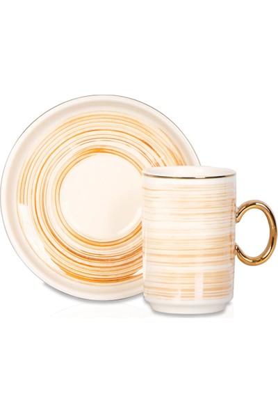 Acar Colorful Ince Çizgili Porselen 6'lı Kahve Fincan Seti - Turuncu